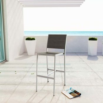 SHORE OUTDOOR PATIO ALUMINUM ARMLESS BAR STOOL IN SILVER GRAY