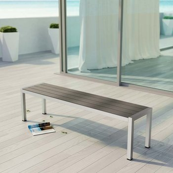 SHORE OUTDOOR PATIO ALUMINUM BENCH IN SILVER GRAY