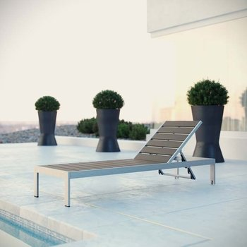 SHORE OUTDOOR PATIO ALUMINUM CHAISE IN SILVER GRAY