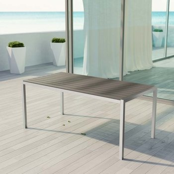 SHORE OUTDOOR PATIO ALUMINUM DINING TABLE IN SILVER GRAY