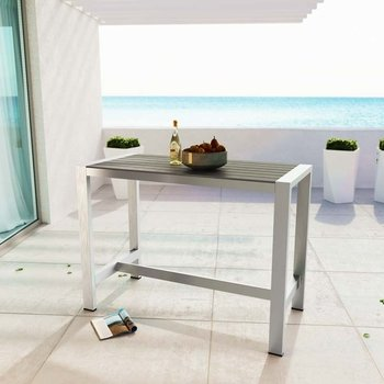 SHORE OUTDOOR PATIO ALUMINUM RECTANGLE 2253 BAR TABLE