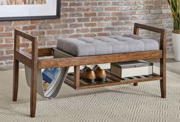 Slatted Shelf Bench Walnut And Grey 914140