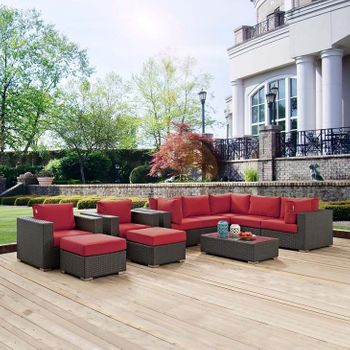SOJOURN 10 PIECE OUTDOOR PATIO SUNBRELLA® 1888 SECTIONAL SET IN CANVAS