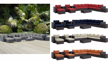 SOJOURN 11 PIECE OUTDOOR PATIO SUNBRELLA® SECTIONAL SET IN CANVAS