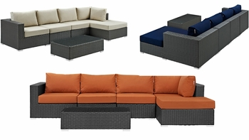 SOJOURN 5 PIECE OUTDOOR PATIO SUNBRELLA® SECTIONAL SET IN CANVAS
