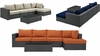 SOJOURN 5 PIECE OUTDOOR PATIO SUNBRELLA� SECTIONAL SET IN CANVAS