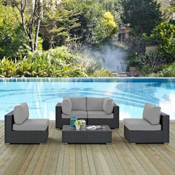 SOJOURN 5 PIECE OUTDOOR PATIO SUNBRELLA® 1882 SECTIONAL SET IN CANVAS