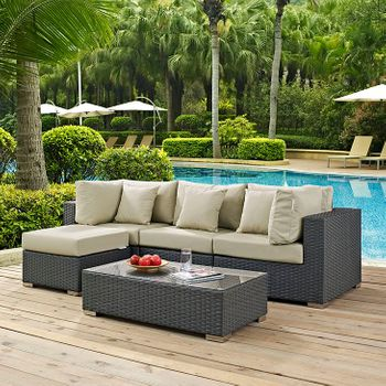 SOJOURN 5 PIECE OUTDOOR PATIO SUNBRELLA® 1890 SECTIONAL SET IN CANVAS