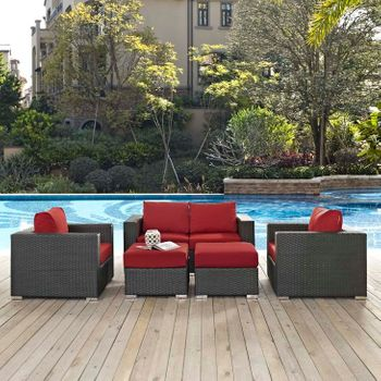 SOJOURN 5 PIECE OUTDOOR PATIO SUNBRELLA® 1879 SECTIONAL SET IN CANVAS