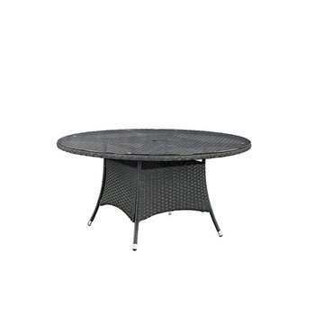 "SOJOURN 59"" ROUND OUTDOOR PATIO DINING TABLE IN CHOCOLATE"