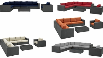 SOJOURN 7 PIECE OUTDOOR PATIO SUNBRELLA® SECTIONAL SET IN CHOCOLATE