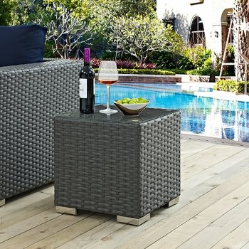 SOJOURN OUTDOOR PATIO 1853 SIDE TABLE IN CHOCOLATE