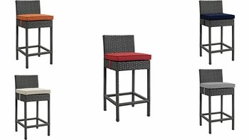 SOJOURN OUTDOOR PATIO SUNBRELLA� BAR STOOL IN ANTIQUE CANVAS