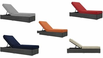 SOJOURN OUTDOOR PATIO SUNBRELLA� CHAISE LOUNGE IN CANVAS