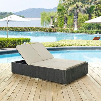 SOJOURN OUTDOOR PATIO SUNBRELLA® 1983 DOUBLE CHAISE IN CHOCOLATE