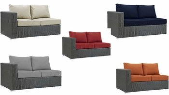 SOJOURN OUTDOOR PATIO SUNBRELLA® LEFT ARM LOVESEAT IN CANVAS