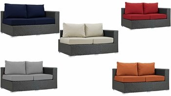 SOJOURN OUTDOOR PATIO SUNBRELLA� RIGHT ARM LOVESEAT IN CANVAS
