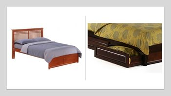 Solstice Platform Full bed with 2 Short storage drawers- P Series/  10 Year Warranty