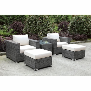SOMANI 2 CHAIRS + 2 OTTOMANS + END TABLE SET 26
