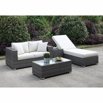 SOMANI LOVE SEAT + ADJ CHAISE + END TABLE + COFFEE TABLE SET 23