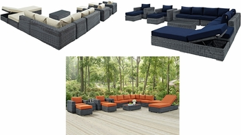 SUMMON 12 PIECE OUTDOOR PATIO SUNBRELLA® SECTIONAL SET IN CANVAS