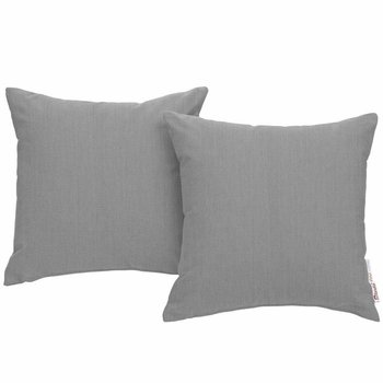 SUMMON 2 PIECE OUTDOOR PATIO PILLOW SET IN GRAY