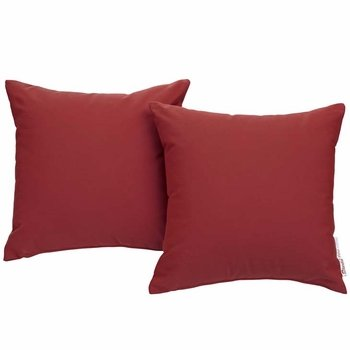 SUMMON 2 PIECE OUTDOOR PATIO PILLOW SET IN RED