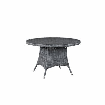 "SUMMON 47"" ROUND OUTDOOR PATIO DINING TABLE IN GRAY"