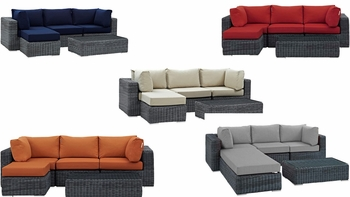 SUMMON 5 PIECE OUTDOOR PATIO SUNBRELLA® SECTIONAL SET IN CANVAS
