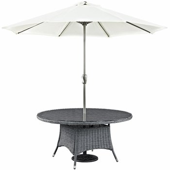 "SUMMON 59"" ROUND OUTDOOR PATIO DINING TABLE IN GRAY"