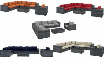 SUMMON 7 PIECE OUTDOOR PATIO SUNBRELLA® SECTIONAL SET IN CANVAS