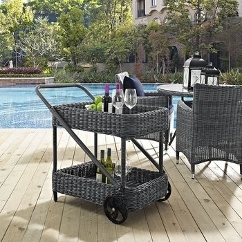 SUMMON OUTDOOR PATIO BEVERAGE CART IN GRAY