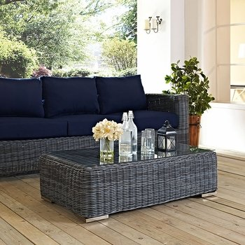SUMMON OUTDOOR PATIO GLASS TOP COFFEE TABLE IN GRAY