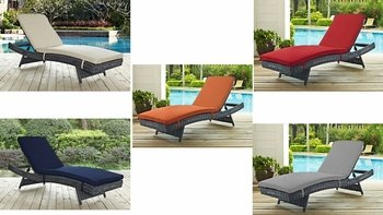 SUMMON OUTDOOR PATIO SUNBRELLA® CHAISE IN CANVAS