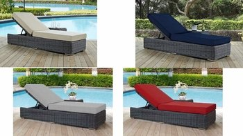 SUMMON OUTDOOR PATIO SUNBRELLA� CHAISE LOUNGE IN CANVAS