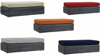 SUMMON OUTDOOR PATIO SUNBRELLA® RECTANGLE OTTOMAN IN CANVAS