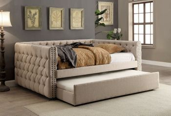 Suzane Upholstered Twin size daybed with trundle # CM1028T