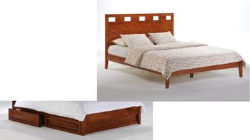 Tamarind Platform King bed with 2 Short storage drawers- P Series/ 10 Year Warranty