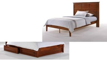 Tarragon Platform Twin bed with 2 Short storage drawers- P Series/  10 Year Warranty