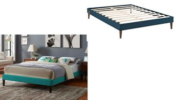 Tessie Queen Fabric Bed Frame with Squared Tapered Legs