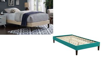 Tessie Twin Fabric Bed Frame with Squared Tapered Legs