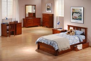 Thyme Platform Twin bed with 2 Short storage drawers- P Series/  10 Year Warranty