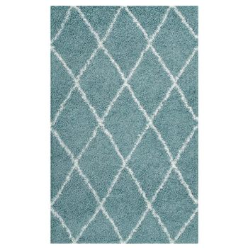 TORYN DIAMOND LATTICE 5X8 SHAG AREA RUG IN AQUA BLUE AND IVORY
