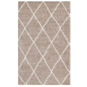 TORYN DIAMOND LATTICE 5X8 SHAG AREA RUG IN BEIGE AND IVORY