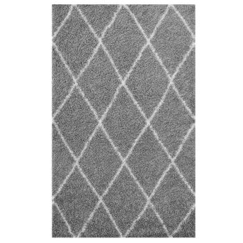 TORYN DIAMOND LATTICE 5X8 SHAG AREA RUG IN GRAY AND IVORY