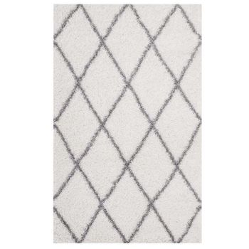 TORYN DIAMOND LATTICE 5X8 SHAG AREA RUG IN IVORY AND GRAY