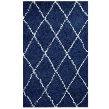 TORYN DIAMOND LATTICE 5X8 SHAG 1144A AREA RUG IN NAVY AND IVORY