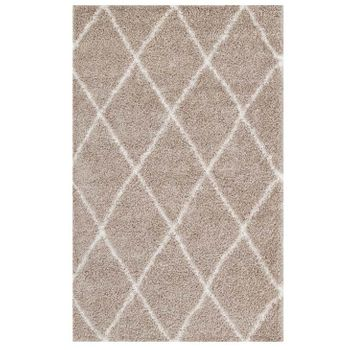 TORYN DIAMOND LATTICE 8X10 SHAG AREA RUG IN BEIGE AND IVORY