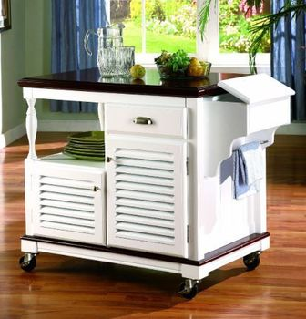 Traditional White Kitchen Cart # 910013