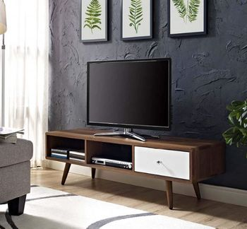 "Transmit 55"" TV Stand in Walnut White 2530"